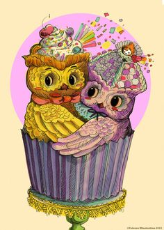 'Cupcake Owls' lol - omg! Love Owls AND cupcakes - AND purple = please this was made for me!