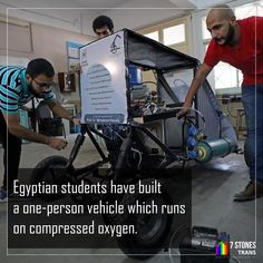 A group of Egyptian students has designed a vehicle they say will battle rising energy prices and promote clean energy by running on nothing but air. The go-kart-like vehicle is a single seater and runs on compressed air. Best Digital Marketing Company, Compressed Air, Social Media Marketing, Egyptian, Transportation, Innovation, Vehicle, Battle