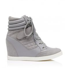 Forever New Malak Wedge Trainer ($40) ❤ liked on Polyvore featuring shoes, sneakers, grey, wedged sneakers, grey flat shoes, flat shoes, gray wedge sneakers and grey shoes