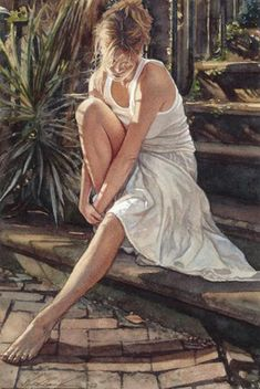 Thinking it Over Steve Hanks is recognized as one of the best watercolor artists working today. The detail, color and realism of Steve Hanks' paintings are unheard of in this difficult medium. A softly worn patterned quilt, the play of light on the thin veil of surf on sand, or the delicate expression of a child—-Steve Hanks captures these patterns of life better than anyone.