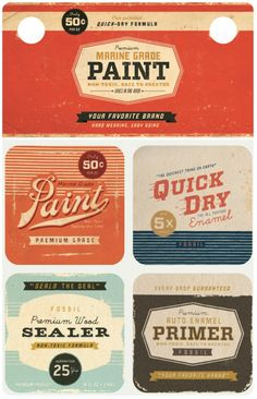miniature printies - vintage paint cans Vintage Packaging, Vintage Labels, Vintage Posters, Packaging Design, Retro Vintage, Logo Vintage, Retro Posters, Food Packaging, Vintage Graphic Design