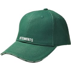 Vetements Baseball Cap (14,460 PHP) ❤ liked on Polyvore featuring accessories, hats, green, green hat, baseball cap hats, baseball caps, green baseball hat and green baseball cap