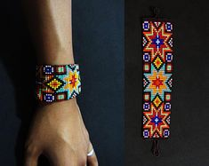 Items similar to Bead Embroidered Cuff Bracelet, Gray, Swarovski, Made to Order on Etsy Native Beading Patterns, Loom Patterns, Bead Crochet Rope, Native American Beading, Loom Beading, American Jewelry, Bracelet Patterns, Leather Cord, Bracelet Making