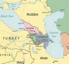Map of Transcaucasia: Georgia, Armenia, and Azerbaijan.