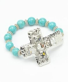 Another great find on #zulily! Silver & Turquoise Cross Beaded Stretch Bracelet #zulilyfinds