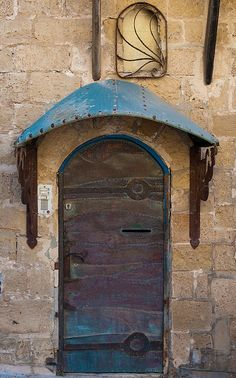 Jaffa, Israel. It looks like it is made out of stained metal or even leather, like it is stitched together.