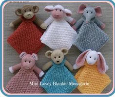 Ravelry: Mini Lovey Blankie Menagerie pattern by Lorraine Pistorio*NOTE - this is a retail knitting pattern (not free). Mini Lovey Blankie Menagerie by Rainebo Designs via CraftsyKnitting : Mini Lovey Blankie Menagerie How adorable! I cannot wait to start Crochet Blanket Patterns, Baby Patterns, Knitting Patterns Free, Free Knitting, Stitch Patterns, Baby Blanket Knitting Pattern Free, Knitting Squares, Knitting Toys, Knitting For Kids