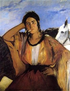 Gypsy with a Cigarette, 1862 by Edouard Manet. Realism. genre painting. The Art Museum, Princeton University, New Jersey, USA