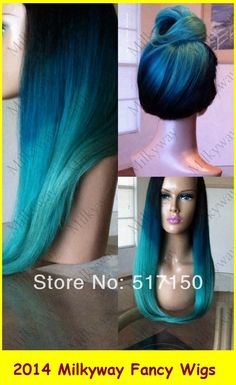 Milkyway black/blue/green three tone synthetic lace front wig silky straight ombre  turquoise ombre lace front wig US $44.80 - 52.80