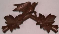 VINTAGE CUCKOO CLOCK TOPPER FINIAL BIRD WITH LEAVES GLASS EYE LIGHT BROWN