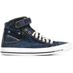 Diesel Denim Hi-Top Sneakers ($139) ❤ liked on Polyvore featuring shoes, sneakers, blue, blue shoes, blue high top shoes, denim shoes, hi tops and diesel footwear