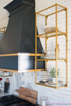 The brass shelves are from Blackstocks.