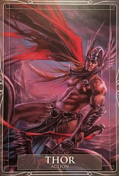 "Daily Angel Oracle Card: Thor, from the Gods and Titans Oracle Card deck, by Stacey Demarco, artwork by Jimmy Manton Thor: ""Action"" ""The time has now passed for waiting and inerti… World Mythology, Celtic Mythology, Mythological Creatures, Mythical Creatures, The Mighty Thor, Legends And Myths, Oracle Cards, Greek Gods, Gods And Goddesses"