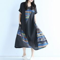 Dress - Women Summer Mixed Color Loose Cotton Linen Dress