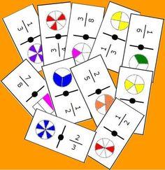 """Observaciones: Presentamos en esta entrada una cadena de dominós de fracciones. La cadena trata de la simplificación de fracciones utilizando el concepto de fracción """"como parte de un todo…"""