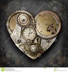 steampunk 3d abstract | Steampunk styled heart created with gears, cogs, watch & clock parts.