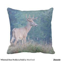 Whitetail Deer Profile in Field Throw Pillow