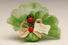 Christening favour tulle with ladybug
