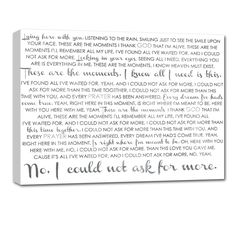 your wedding vows or the lyrics to your favorite song printed on canvas - such a sweet keepsake