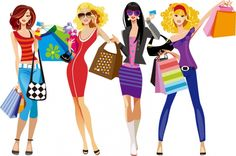 PEOPLE / people Shopping Girls Vector Illustration