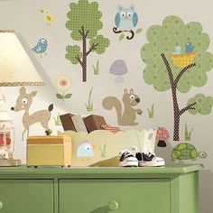 Set of cute woodland animals wall stickers.