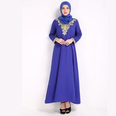 Islamic Women's Dress with Embroidery Islamic, High Neck Dress, Dresses With Sleeves, Traditional, Embroidery, Free Shipping, Long Sleeve, How To Wear, Stuff To Buy
