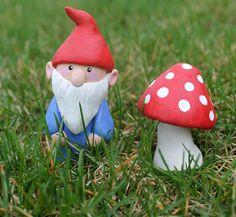 Original Sculpey Gnome and Mushroom