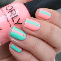 Orly Trendy + vintage - neon peach and green striped nail art