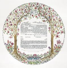 Trees of Life III Ketubah - Gold by Betsy Teutsch available on Ketubah.com