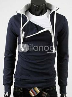 Stylish Navy Blue Long Sleeves Zippers Cotton Men's Hoodie  $22.94