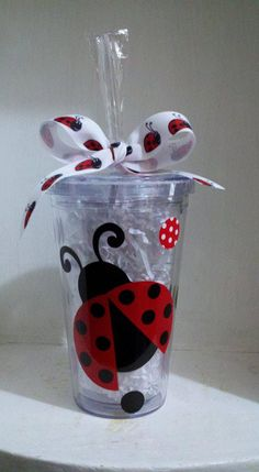 And this one, too! Personalized 16 oz Ladybug Acrylic BPA Free by CuteandJazzyDesigns. $10.00 USD, via Etsy.