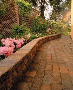 Add a garden retaining wall to your landscape. Need help? visit our blog for DIY tips! http://info.basalite.com/blog/