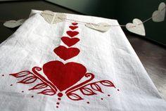 Folk Hearts. Valentine's Day Gift. Flour Sack Towel.