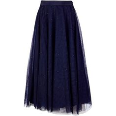 Ted Baker Phae Embellished midi tulle skirt (2394400 PYG) ❤ liked on Polyvore featuring skirts, blue, women, tulle skirt, midi skirt, embellished skirt, ted baker skirt and calf length skirts