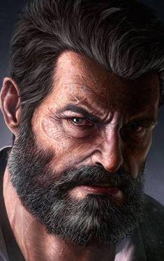 Wolverine Art, Logan Wolverine, Fantasy Portraits, Character Portraits, Marvel Dc Comics, Marvel Heroes, Old Man Logan, Superhero Characters, Celebrity Caricatures