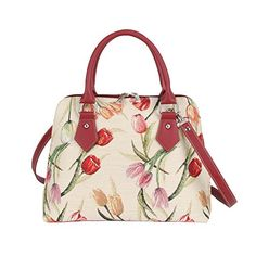 Signare Womens Fashion Canvas Tapestry Convertible Shoulder Handbag in Floral Tulip Design * You can get additional details at the image link.