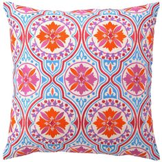 Jennifer Paganelli Back Bay Orange Blue Embroidered Pillow