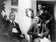 Prisoner Adolf Hitler looking comfortable in Landsberg prison after the failed Munich Bier Hall Putsch, with fellow Nazis, Hermann Kriebel (left) and Emil Maurice (rear).