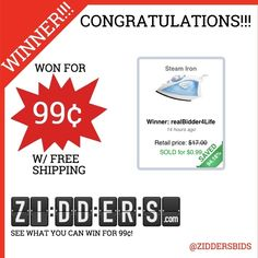 #Congratulations realBidder4Life for winning this Steam Iron for only 99¢! Want to #win your own? Check out www.zidders.com #zidderswinners  See all of our items for 99¢ w/ #FREE shipping!