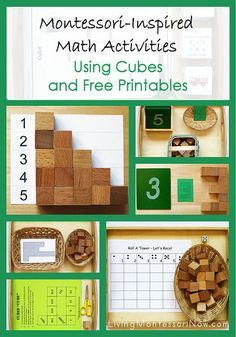 Montessori-inspired activities using free printables with wooden cubes (post uses Spielgaben cubes) for preschoolers through elementary-age kids