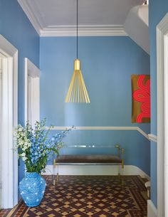 Hallway with ceiling in Wimborne White No.239 and walls in Lulworth Blue No.89 and Wimborne White No.239 | Estate Emulsion, Modern Emulsion and Modern Eggshell.