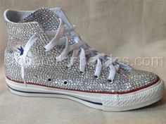 White Chuck Taylor High Top Crystal Rhinestone Converse - Bridal Prom Romany