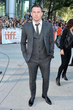 "Channing Tatum rocks a grey pinstripe suit at the ""Foxcatcher"" premiere - TIFF Fashion"