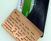 Wallet Insert Card Copper Hand Stamped by SnappinStudio on Etsy