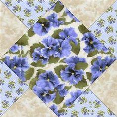 Debbie-Beaves-Lovely-Blue-Violet-Floral-Pre-cut-Quilt-Kit-Block-Square-Fabric
