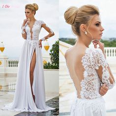 Hot Sell White Long Sleeve Beach Wedding Dress Bohemian Lace Summer Backless Sexy Boho Bridal Dresses Gowns Chiffon Split P68