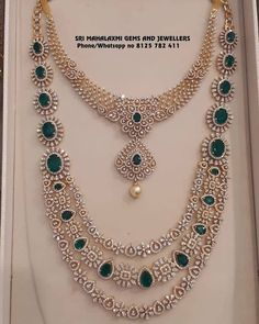 Stunning gold necklace and long haaram studded with diamonds and emeralds.Visit for latest designs of IGI certified finest quality Diamond jewellery. Contact no 8125 782 16 December 2018 Indian Jewelry Sets, Bridal Jewelry Sets, Wedding Jewelry, South Indian Jewellery, Bridal Jewellery, Wedding Accessories, Diamond Necklace Set, Diamond Jewelry, Gold Jewelry