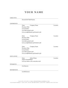 Free Printable Sample Resume Templates   Http://www.resumecareer.info/  Free Basic Resume Templates Microsoft Word