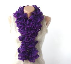 Purple ruffle scarf $15.00, via Etsy.