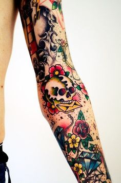 20 best traditional sleeve tattoos for women images Old School Tattoo Sleeve, Full Sleeve Tattoos, Sleeve Tattoos For Women, Rockabilly Tattoo Sleeve, Colorful Sleeve Tattoos, Trendy Tattoos, New Tattoos, Body Art Tattoos, Tattoos Pics